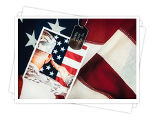 American Flag with Veteran Picture
